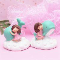 蛋糕烘焙装饰品zakka海豚女孩小摆件迷你配件 桌面树脂工艺品车摆