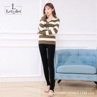 韩国正品Lets diet10+号加绒护腰袜加厚打底裤女冬保暖一体裤