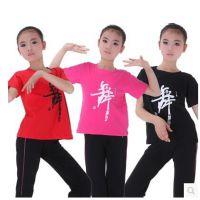 新款儿童短袖棉质舞蹈服 练功服 表演服  演出服 舞蹈上衣