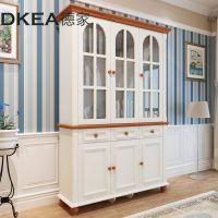 德家家具地中海美式三门书柜书房实木置物柜小书架柜子收纳柜组合
