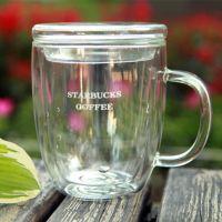 厂家直销玻璃水杯可定制 耐热双层马克杯带盖玻璃透明咖啡杯