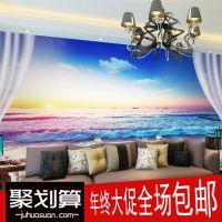 地中海浪漫温馨壁画墙纸简约现代客厅卧室沙发床头背景墙海滩壁纸