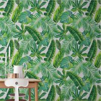 无缝大型壁画壁纸电视客厅沙发卧室北欧简约热带植物背景墙壁画