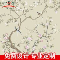 背景墙喷绘3d软包皮革中式手绘花鸟喷绘皮革厂家来图定制喷绘皮革
