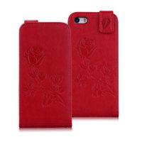 苹果iphone5S压花皮套 创意玫瑰手机保护套 4S插卡支架手机皮套壳