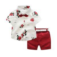 童套装一件代发 ins爆款2018夏季男童短袖衬衣印花套装速卖通批发