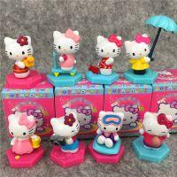 日本卡通~凯蒂猫 雨伞KT猫咪8款场景摆饰公仔玩偶 彩色盲盒包装