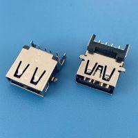 USB AF 3.0反向破板式DIP母座/四脚插板/带弹片/无卷边/无导位/黑胶