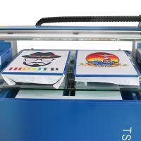 T血、帽子专业服装彩印UV打印机智能平板印刷机双工位玻璃平台