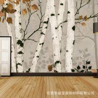 无缝大型壁画3d立体电视背景墙壁画白杨树无纺布壁纸客厅沙发墙布