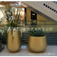 定制 室内酒店商场售楼部玻璃钢组合花盆户外样板房三件套圆柱体