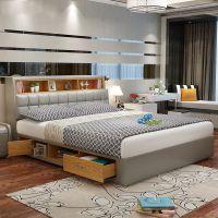 北欧风床 板折叠双人床多功能抽屉高箱储物床公主床主卧皮艺婚床