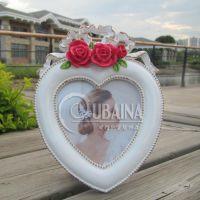 5寸心形圆形玫瑰相框珍珠边框婚庆节日活动促销商务礼品厂家批发