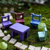 多肉植物微景观盆栽小摆件迷你仿真礼物小凳子 椅子 桌子小摆件