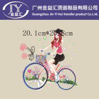 女士服装t恤爆款图案烫画 单车上的女孩 广州中大热销爆款烫画