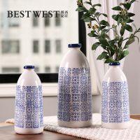 新中式手工彩绘青花瓷图案大号陶瓷花瓶 创意家居桌面花器摆件