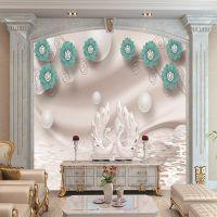 5d客厅沙发电视背景墙壁纸现代唯美花雕壁画8d立体浮雕无缝墙布