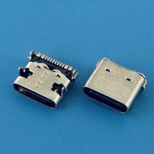 端子16PIN USB TYPE-C母座 短体外壳脚DIP 板上型 四脚插板 SMT成品