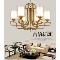 新中式吊灯现代客厅吊灯仿古餐厅灯玻璃灯具卧室灯简约中国风