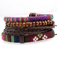 欧美热卖复古夸张皮串珠多层组合手镯可调节手工编织手链饰品