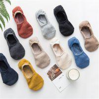 春夏季新品隐形袜 日系全棉纯色糖果色女士船袜 防滑硅胶一体女袜
