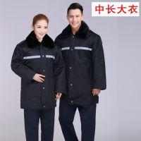 反光条多功能大衣中款男女工作服公司定制LOGO保安棉服户外工作服
