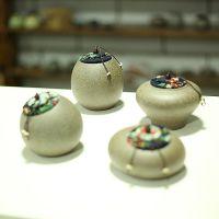 粗陶茶叶罐手工陶瓷密封粗陶醒茶罐木塞储物罐竹盖茶叶罐茶具茶罐