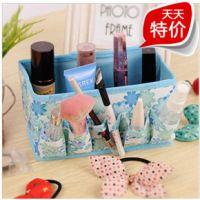 居家无纺布小碎花可折叠化妆品收纳盒/桌面杂物盒 收纳框一件代发