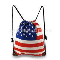 专业厂家生产 美国星条旗 国旗 创意拉绳背包 中学生背包补课袋