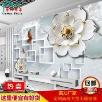 无缝3d大型壁画玉雕客厅电视背景墙纸布ktv装饰效果图酒店5d壁纸