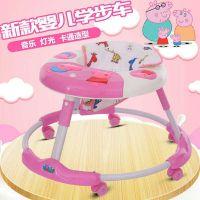 厂家直销新款儿童学步车小猪佩奇静音带音乐灯光助步车滑行车批发