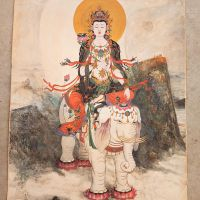 供应佛教唐卡唐喀观音菩萨画像挂画精致印刷画装饰刺绣画挂件批发