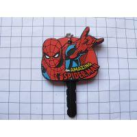 环保PVC材料蜘蛛侠钥匙套,卡通滴塑软胶钥匙套