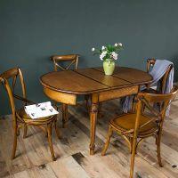 美式实木餐桌椅咖啡厅酒店高档餐椅做旧橡木书房椅子