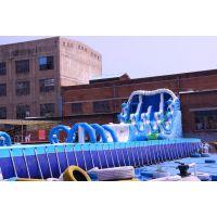 移动水上乐园设备厂家大型支架游泳池充气水池儿童滑梯玩具闯关