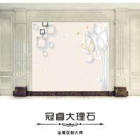 广东电视背景墙瓷砖简约客厅欧式3D微晶石大理石材罗马柱整体装饰