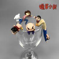 日本卡通动漫 蜡笔小新 野原新之助 杯口挂件 公仔手办摆件玩具