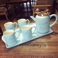 英式骨瓷咖啡杯套装欧式蓝色釉下午花茶茶具 蝴蝶结创意咖啡杯壶