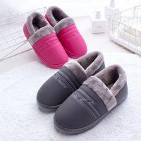 包跟冬季棉拖鞋厚底月子鞋居家居情侣PU防水保暖毛拖鞋女批发