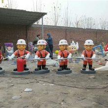 灭火器小人仔玻璃钢模型/消防员公仔彩绘雕塑/卡通带防毒面具救火英雄树脂铸铜摆件