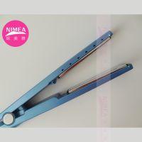 外贸热销蓝色直发器1/4窄板纳米钛夹板3/4宽板卷发器卷棒直卷两用