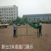 厂家直销浸塑绿色公路框架护栏网 车间防护网门 浸塑仓库隔离栅门