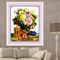 蒙娜丽莎印花十字绣客厅简约现代大幅挂画刺绣新款卧室花卉十字秀