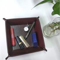 现货黑色皮革四角金属收纳盘 杂物盘  可折叠 桌面清洁收纳盒