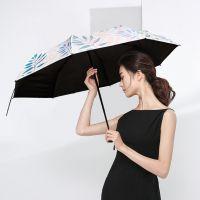 雨伞太阳伞防晒防紫外线超轻小日本小号黑胶伞海边随身挡风轻巧时