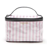 旅行时尚简约洗漱包防水化妆包收纳包 粉白条纹手提化妆箱收纳箱
