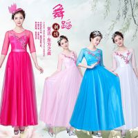 新款大合唱女广场舞舞蹈服装中国风古典舞蹈服装民乐古筝演出服