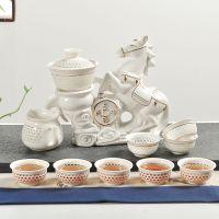 高级 玲珑马到成功茶具套装陶瓷懒人冲茶器 家用客厅高档茶具礼品