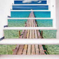 Funlife 时尚家居自粘3D楼梯贴纸 海边码头装饰度假墙贴墙纸FS012