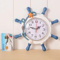 复古地中海时钟木质时尚电子钟学生创意钟表挂钟摆件促销礼品赠品